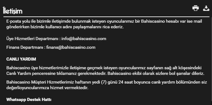 Bahiscasino iletişim